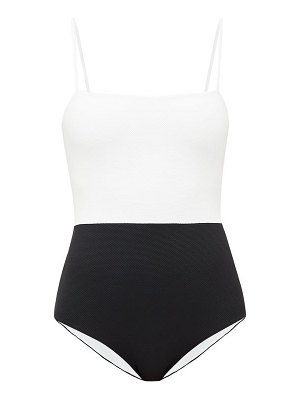 Cossie + Co the edie bi-colour honeycomb-effect swimsuit