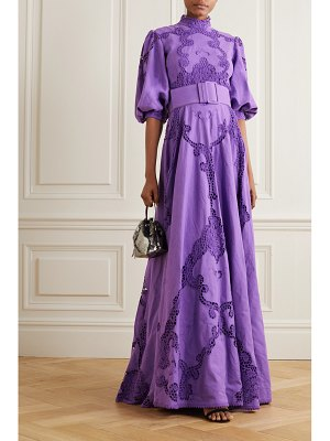 Costarellos alessie belted lace-paneled linen and cotton-blend gown