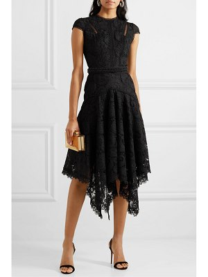 Costarellos asymmetric pleated embellished guipure lace midi dress
