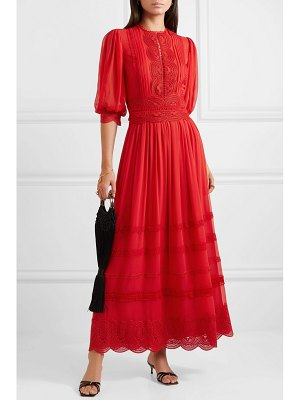 Costarellos crocheted lace-trimmed silk crepe de chine maxi dress