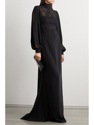 Costarellos elize lace-paneled crepe gown