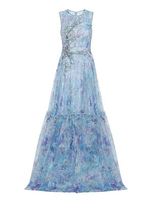 Costarellos embroidered printed tulle gown