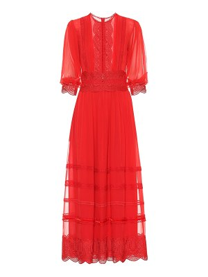 Costarellos Embroidered silk dress