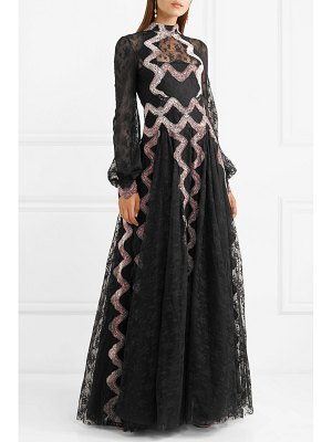 Costarellos embroidered velvet-trimmed lace gown
