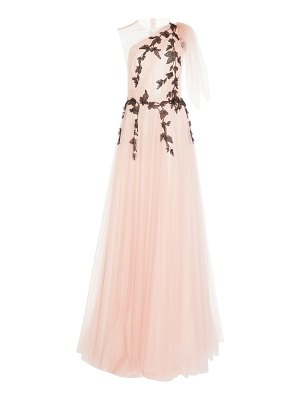 Costarellos illusion one shoulder tulle ball gown