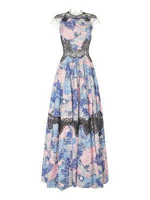 Costarellos illusion yoke fit and flare gown