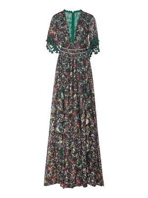Costarellos iridescent botanical-printed chiffon jacquard plunge dress