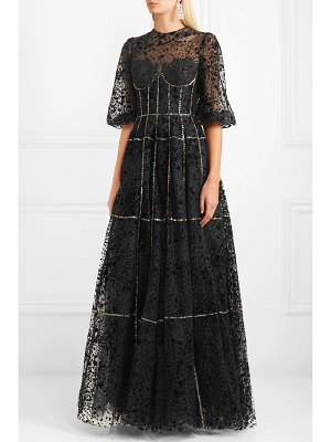 Costarellos lace-trimmed embellished flocked tulle gown