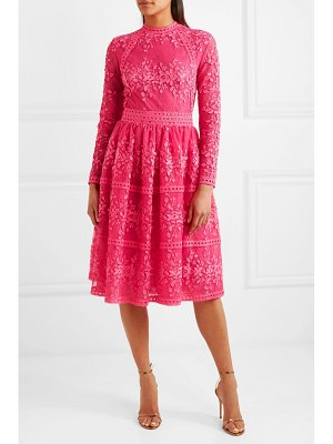 Costarellos lace-trimmed embroidered tulle dress