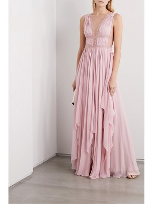 Costarellos lace-trimmed silk-georgette gown