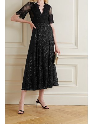 Costarellos leigh sequined chantilly lace midi dress