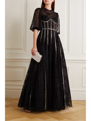 Costarellos linsey sequin-embellished flocked tulle gown