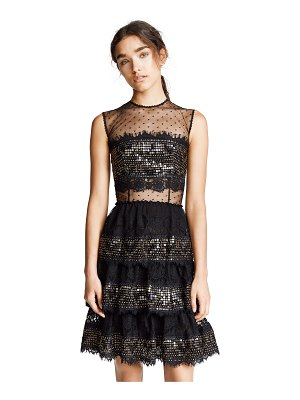 Costarellos long layered dress with sequin panels
