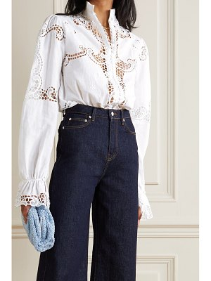 Costarellos milena broderie anglaise linen and cotton-blend blouse - off-white