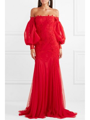 Costarellos off-the-shoulder appliquéd tulle gown