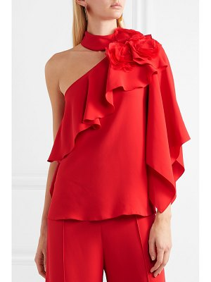 Costarellos one-shoulder ruffled crepe and organza top