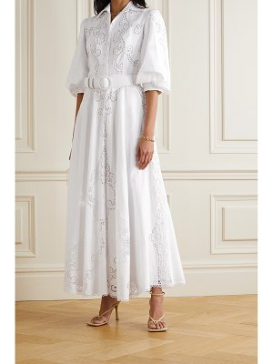Costarellos pavlina broderie anglaise cotton and linen-blend shirt dress - off-white