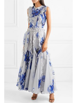 Costarellos ruffled pleated floral-print chiffon maxi dress