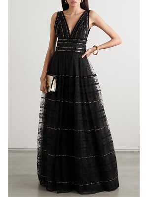 Costarellos sequined embroidered tulle gown