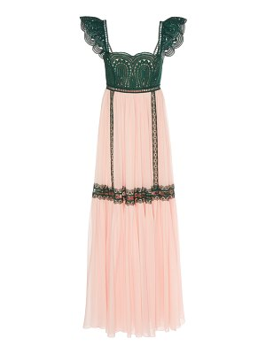 Costarellos silk chiffon and lace trim empire dress