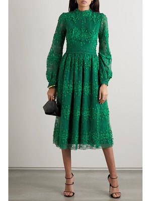 Costarellos tasa lace-trimmed embroidered tulle dress