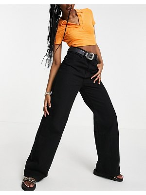 Cotton:On cotton: on high rise wide leg jean in black