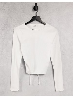 Cotton:On cotton: on open back rib long sleeve top in white