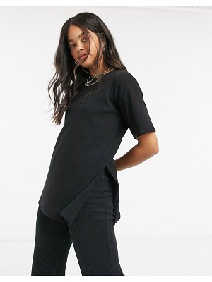 Cotton:On cotton: on oversized ribbed tee in black
