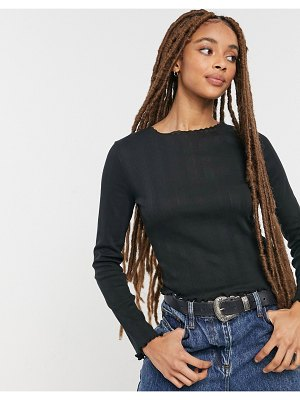 Cotton:On cotton: on pointelle long sleeve top in black