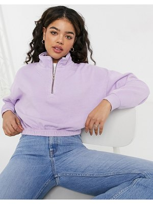 Cotton:On cotton: on quarter zip sweat top in lilac-purple