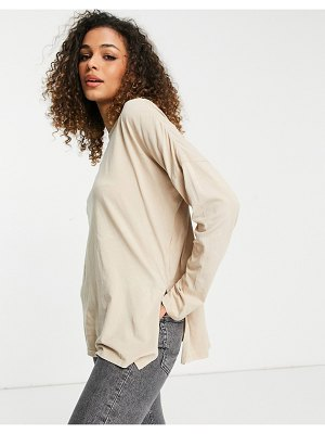 Cotton:On cotton: on relaxed long sleeve t-shirt in beige-neutral