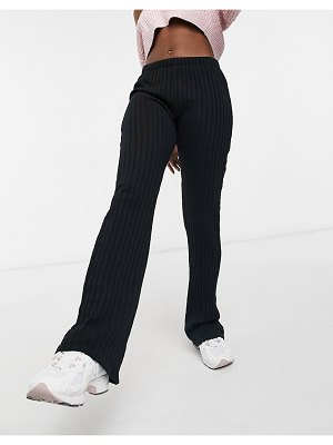 Cotton:On cotton on textured rib pants in black
