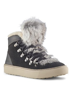 COUGAR dani high top sneaker with genuine rabbit fur trim