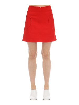 Courreges Cut out textured wool mini skirt