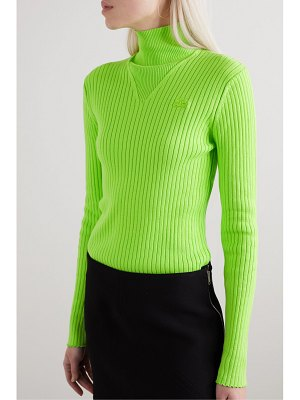Courreges embroidered ribbed cotton turtleneck sweater