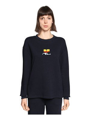 Courreges Logo embroidered cotton sweater