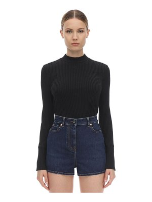 Courreges Logo ribbed cotton top