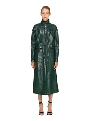 COURRÈGES Logo wrinkled vinyl long trench coat