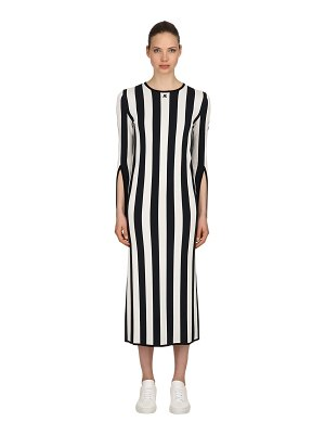 COURRÈGES Striped viscose knit long sleeved dress