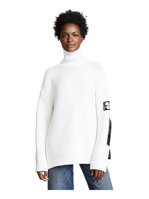 Courreges turtle neck sweater with vinyl detail