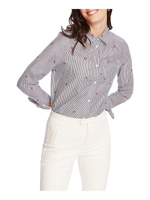 Court & Rowe floral embroidery pinstripe cotton button-up shirt