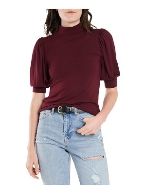 Court & Rowe mock neck puff sleeve knit top