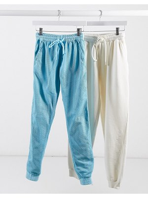 Criminal Damage cuffed tracksuit bottoms with mesh overlayer two-piece-blue