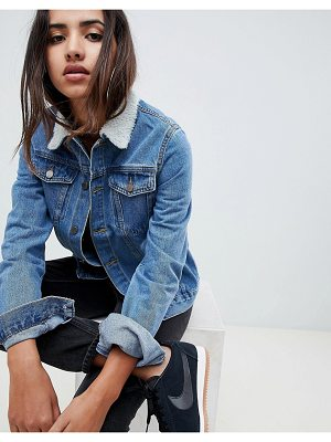 Criminal Damage Denim Jacket With Faux Shearling Collar