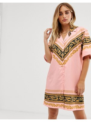 Criminal Damage oversized shirt dress with baroque panel print