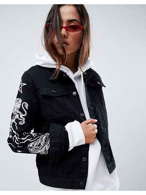 Criminal Damage Printed Denim Jacket