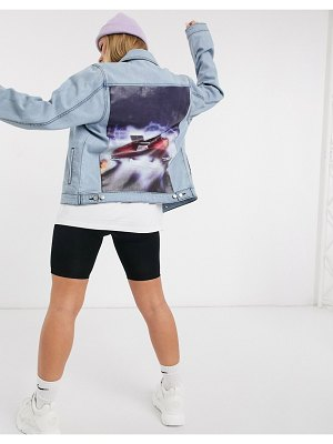Criminal Damage x back to the future denim jacket with delorean back print-blue