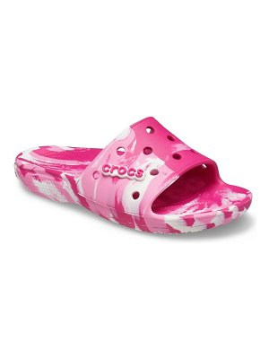 Crocs classic marble slides in pink