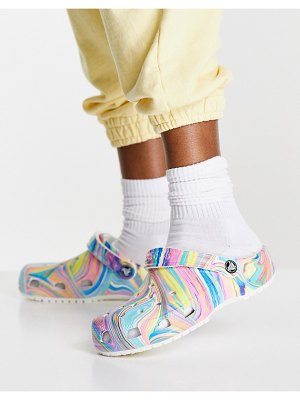 Crocs classic out of this world shoes in rainbow marble-multi