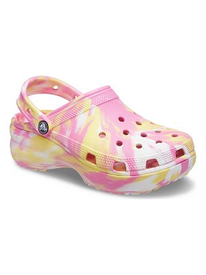 Crocs classic platform clogs in pink and yellow marble-multi